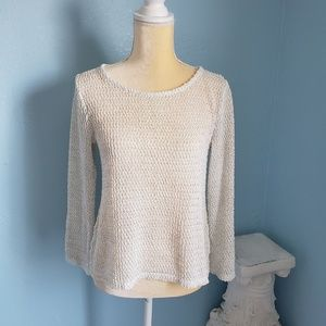 Chico's white gold open knit sweater Sz 0=S
